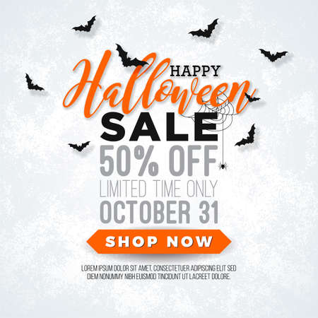 Halloween Sale vector illustration with spider, bats and lettering on white background. Design for offer, coupon, banner, voucher or promotional poster