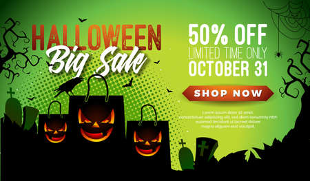 Halloween Sale vector banner illustration with scary faced shopping bag, crow, bats and cemetery on green background. Holiday design with typography lettering for offer, coupon, celebration, voucher or promotional poster