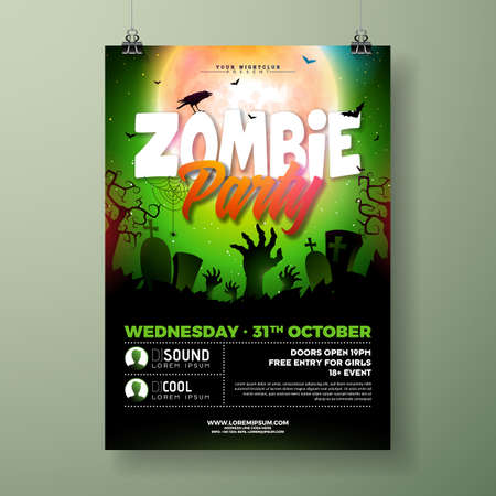 Halloween Zombie Party flyer illustration with cemetery and mysterious moon on green background. Vector Holiday design template with tomstones and flying bats for party invitation, greeting card, banner or celebration poster Illustration