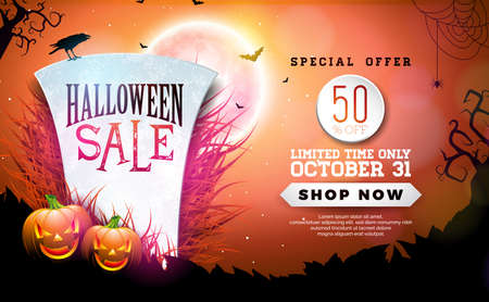 Halloween Sale banner illustration with tombstone, pumpkins, moon and flying bats on red night sky background. Vector Holiday design template with typography lettering for offer, coupon, celebration b