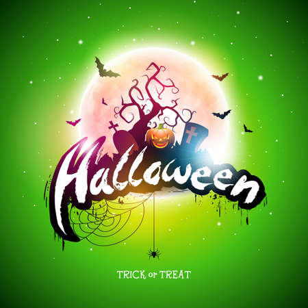 Happy Halloween illustration with moon, flying bats and pumpkin hand on green background. Vector Holiday design template with typography lettering and cemetery for greeting card, flyer, banner, celebration poster or party invitation