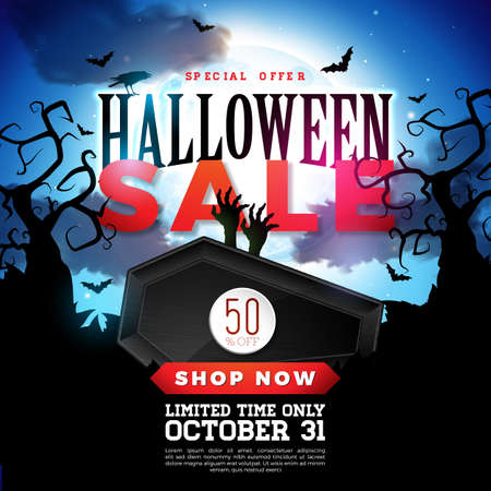Halloween Sale vector banner illustration with coffin and zombie hand on blue background. Holiday design with typography lettering for offer, coupon, celebration, voucher or promotional poster.