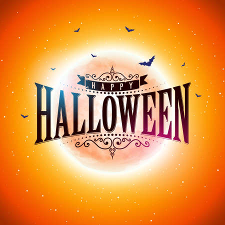 Happy Halloween illustration with typography lettering, moon, flying bats on red background. Vector Holiday banner design template for greeting card, flyer, celebration poster or party invitation