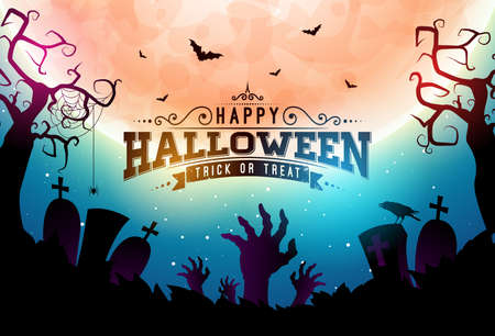 Happy Halloween banner illustration with moon, flying bats, coffin and zombie hand on blue night sky background. Vector Holiday design template with typography lettering and cemetery for greeting card, flyer, celebration poster or party invitation Illustration