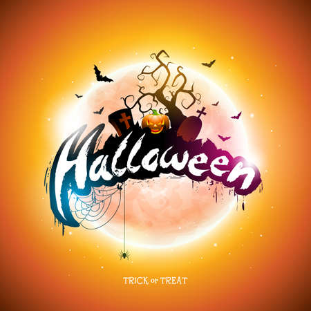 Happy Halloween illustration with moon, flying bats and pumpkin hand on orange background. Vector Holiday design template with typography lettering and cemetery for greeting card, flyer, banner, celebration poster or party invitation Illustration