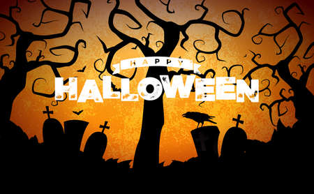 Happy Halloween banner illustration with cemetery and crow on blue orange sky background. Vector Holiday design template with typography lettering for greeting card, flyer, celebration poster or party invitation