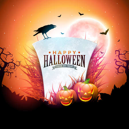 Happy Halloween banner illustration with moon, flying bats, pumpkins and tombstone on orange night sky background. Vector Holiday design template with typography lettering for greeting card, flyer, celebration poster or party invitation.