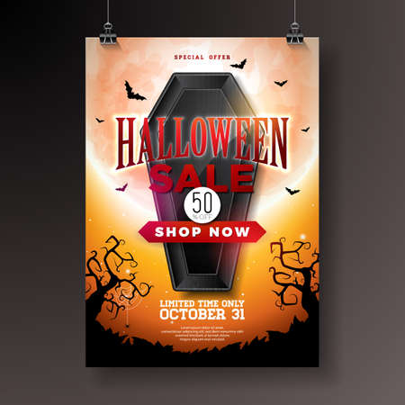 Halloween Sale illustration with black coffin, bats and cemetery on orange mysterious moon background. Vector holiday design with typography lettering for offer, coupon, celebration banner, voucher or promotional poster