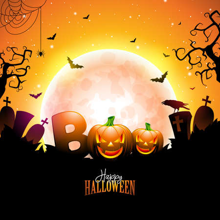 Boo, Happy Halloween design with typography lettering, moon, flying bats and cemetery on orange night sky background. Vector Holiday design template for greeting card, flyer, celebration poster or party invitation