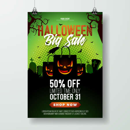 Halloween Sale vector flyer illustration with scary faced shopping bag, crow, bats and cemetery on green background. Holiday design with typography lettering for offer, coupon, celebration banner, voucher or promotional poster Illustration