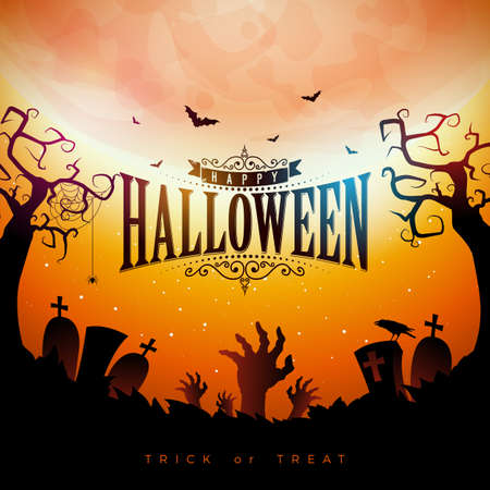 Happy Halloween banner illustration with moon, flying bats and zombie hand on red night sky background. Vector Holiday design template with typography lettering and cemetery for greeting card, flyer, celebration poster or party invitation