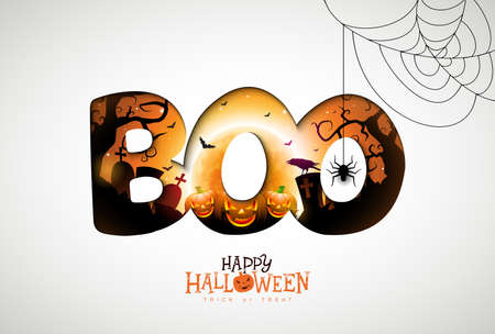 Boo, Happy Halloween design with pumpkin, moon and flying bats in typography lettering on white background. Vector Holiday design template with spider and cemetery for greeting card, flyer, celebration poster or party invitation Ilustração