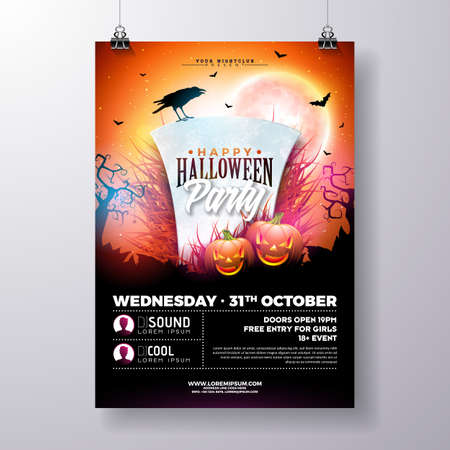 Halloween Party flyer vector illustration with tombstone and pumpkins on mysterious red background. Holiday design template with crow and fliyng bats for party invitation, greeting card, banner or celebration poster