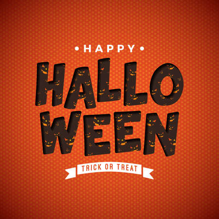 Happy Halloween vector illustration with scary face pattern in typography lettering on orange background. Holiday design for greeting card, banner, celebration poster, party invitation