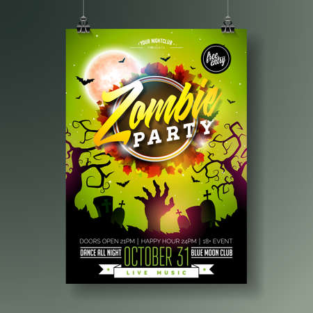 Halloween Zombie Party flyer illustration with cemetery, autumn leaves and moon on green background. Vector Holiday design template with zombie hand, tomstones and flying bats for party invitation, greeting card, banner or celebration poster.