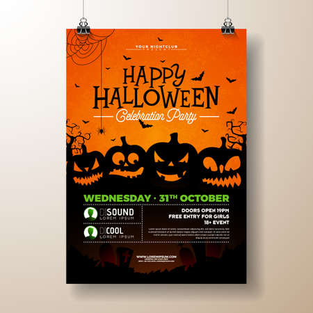 Halloween Party flyer vector illustration with scary faced pumpkins on orange background. Holiday design template with flying bats for party invitation, greeting card, banner or celebration poster. Stock Photo