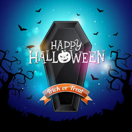 Happy Halloween banner illustration with flying bats and coffin on blue night sky background. Vector Holiday design template with typography lettering for greeting card, flyer, celebration poster or party invitation.