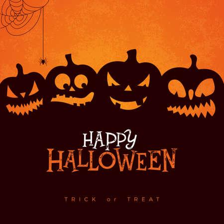 Gelukkige Halloween-bannerillustratie met enge onder ogen gezien pompoenen, spin en spinneweb op oranje achtergrond. Vector vakantie ontwerpsjabloon met typografie belettering voor wenskaart, flyer, feest poster of uitnodiging voor feest