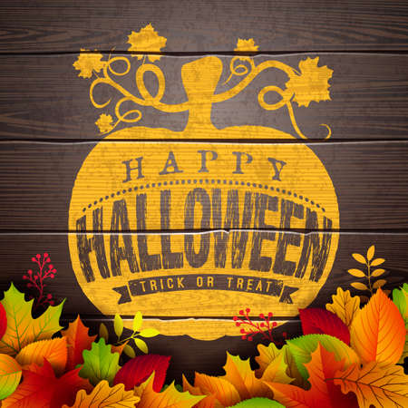 Happy Halloween banner illustration with autumn leaves and typography lettering in pumpkin on vintage wood background. Vector Holiday design template with typography lettering and cemetery for greeting card, flyer, celebration poster or party invitation