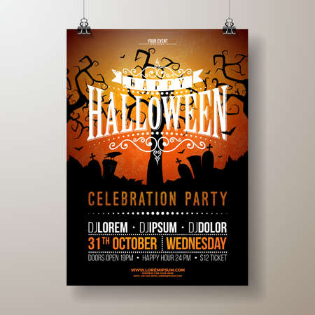 Halloween Party flyer vector illustration with cemetery on red background. Holiday design template with crow and flying bats for party invitation, greeting card, banner or celebration poster
