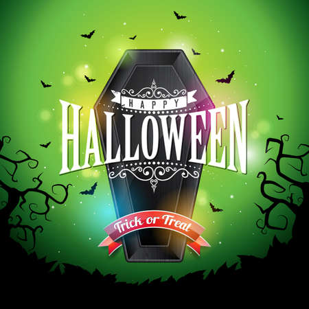 Happy Halloween banner illustration with flying bats and coffin on green night sky background. Vector Holiday design template with typography lettering for greeting card, flyer, celebration poster or party invitation