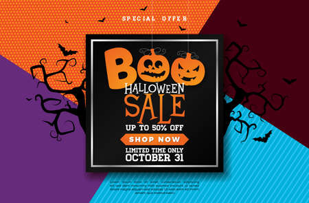 Boo, Halloween Sale banner illustration with scary faced pumpkin and flying bats on abstract colorful background. Vector Holiday design template with typography lettering for offer, coupon, celebration banner, voucher or promotional poster.
