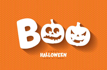 Boo, Happy Halloween design with scary faced pumpkins on orange background. Vector Holiday design template for greeting card, flyer, celebration poster or party invitation.