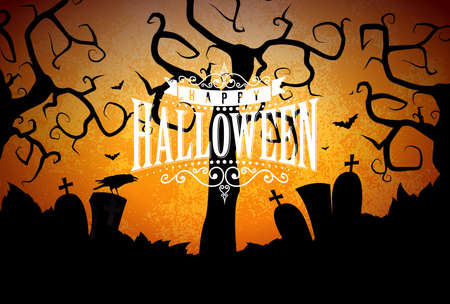 Happy Halloween banner illustration with cemetery and crow on orange night sky background. Vector Holiday design template with typography lettering for greeting card, flyer, celebration poster or part 写真素材