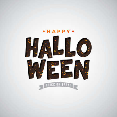 Happy Halloween vector illustration with typography lettering on white background. Holiday design for greeting card, banner, celebration poster, party invitation Ilustração