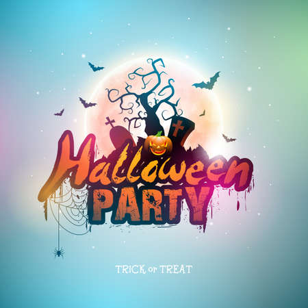 Happy Halloween banner illustration with moon, flying bats and pumpkin hand on blue night sky background. Vector Holiday design template with typography lettering and cemetery for greeting card, flyer, celebration poster or party invitation.