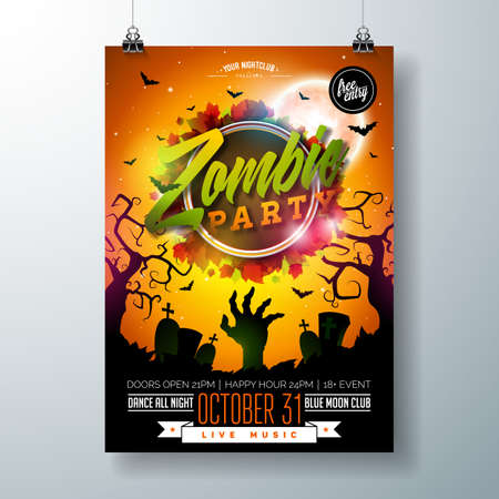 Halloween Zombie Party flyer illustration with cemetery and mysterious moon on orange background. Vector Holiday design template with tomstones and flying bats for party invitation, greeting card, banner or celebration poster