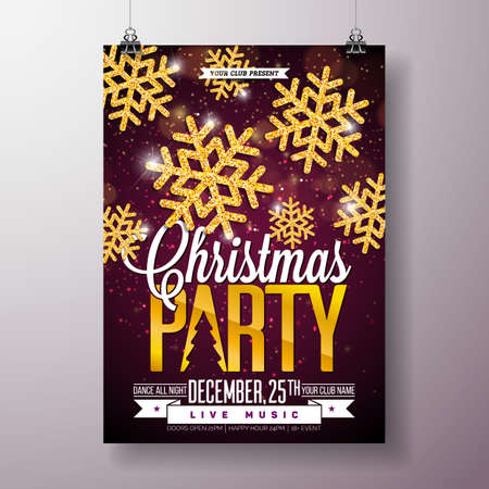 Christmas Party Flyer Illustration with Shiny Gold Snowflakes and Typography Lettering on Dark Background. Vector Holiday Celebration Poster Design Template for Invitation or Banner.