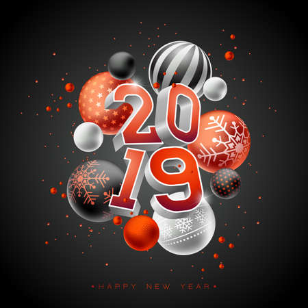 2019 Happy New Year illustration with 3d typography lettering and Christmas ball on black background. Holiday design for flyer, greeting card, banner, celebration poster, party invitation or calendar.