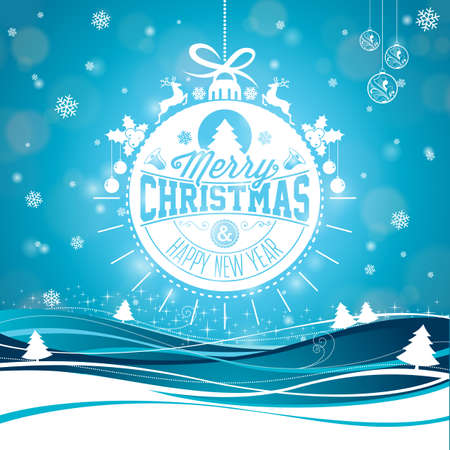 Merry Christmas illustration with typography and ornament decoration on winter landscape background. Vector Holiday Design for Greeting Card, Party Invitation or Promo Banner.