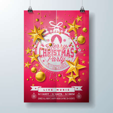 Merry Christmas Party Flyer Design with Holiday Typography Lettering, Star and Ornamental Balls on Black Background. Vector Celebration Poster Design Template for Invitation or Banner.