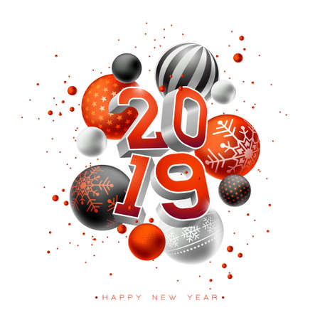 2019 Happy New Year illustration with 3d typography lettering and Christmas ball on white background. Holiday design for flyer, greeting card, banner, celebration poster, party invitation or calendar. Illustration