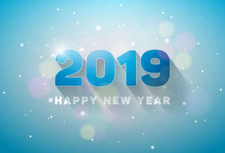 Happy New Year 2019 Illustration with 3d Number on Shiny Lighting Blue Background. Vector Holiday design for flyer, greeting card, banner, celebration poster, party invitation or calendar