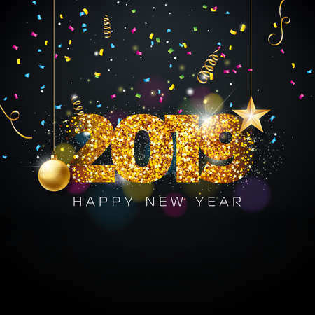 2019 Happy New Year illustration with shiny gold glittered number and christmas ball on dark background. Holiday design for flyer, greeting card, banner, celebration poster, party invitation or calendar