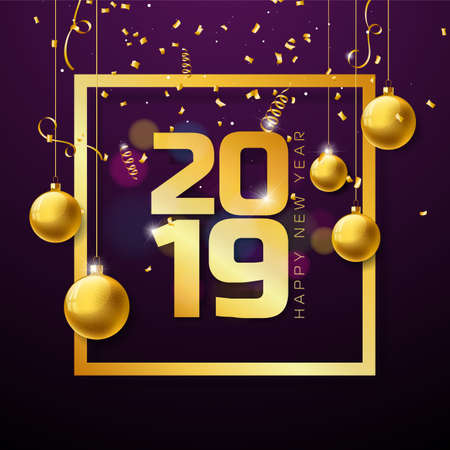 2019 Happy New Year illustration with Gold Number and Christmas ball on Violet background. Vector Holiday design for flyer, greeting card, banner, celebration poster, party invitation or calendar