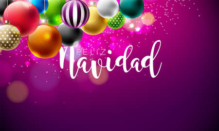 Vector Christmas Illustration with Spanish Feliz Navidad Typography on Violet Background. Mullticolored Holiday Ornamental Ball Design for Greeting Card, Party Invitation or Promo Banner