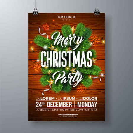 Christmas Party Flyer Illustration with Pine Branch, Gold Star and Typography Lettering on Wood Texture Background. Vector Celebration Poster Design Template for Invitation or Banner