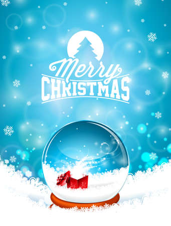 Merry Christmas illustration with snow globe and snowflakes on winter landscape background. Vector Holiday Design for Greeting Card, Party Invitation or Promo Banner Illustration
