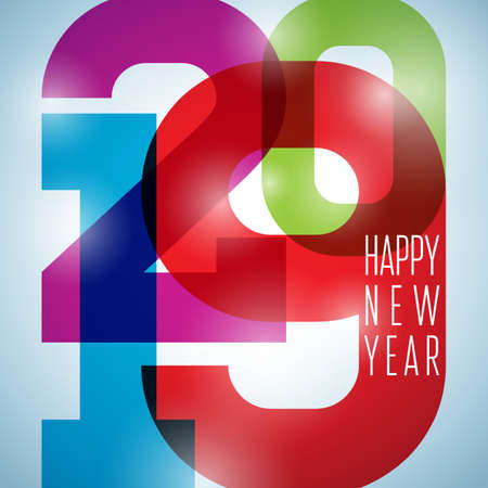 2019 Happy New Year illustration with typography number and shiny colorful background. Vector Holiday design for flyer, greeting card, banner, celebration poster, party invitation or calendar