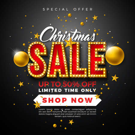 Christmas Sale Design with Ornamental Ball and Light Bulb Lettering on Black Background. Holiday Vector Illustration with Special Offer Typography Elements for Coupon, Voucher, Banner, Flyer, Promotional Poster or Greeting Card