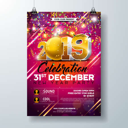 New Year Party Celebration Poster Template illustration with 3d 2019 Number and Falling Colorful Confetti on Red Background. Vector Holiday Premium Invitation Flyer or Promo Banner Ilustracja