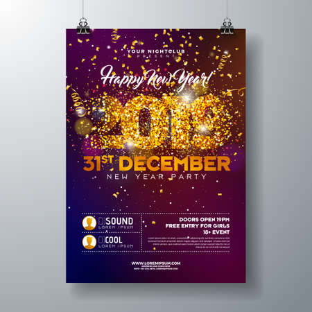 2019 New Year Party Celebration Poster Template illustration with Gold Glittered Number and Falling Colorful Confetti on Shiny Background. Vector Holiday Premium Invitation Flyer or Promo Banner