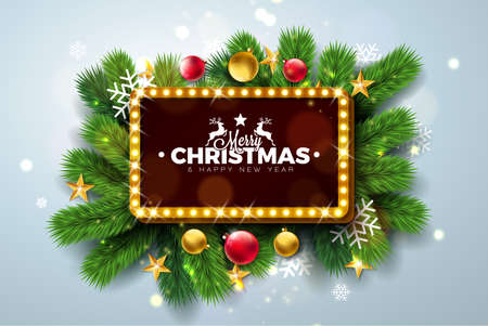 Merry Christmas and Happy New Year Illustration with Light Sign Board and Pine Branch on Light Background. Vector Holiday Design for Greeting Card, Party Invitation or Promo Banner Ilustração