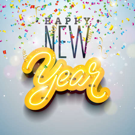 2019 Happy New Year illustration with Bright Neon Light Lettering and Falling Confetti on White Background. Holiday Design for Flyer, Greeting card, Banner, Celebration Poster, Party Invitation or Calendar