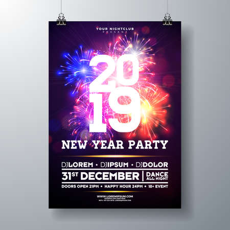 2019 New Year Party Celebration Poster Illustration with Typography Design and Firework on Shiny Colorful Background. Vector Holiday Premium Invitation Flyer Template or Promo Banner