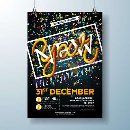 Happy New Year Party Celebration Flyer Template Illustration with Typography Design and Falling Confetti on Black Background. Vector Holiday Premium Invitation Poster or Promo Banner